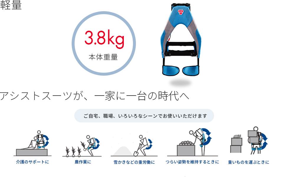 軽量 3.8kg 本体重量  アシストスーツが、一家に一台の時代へ