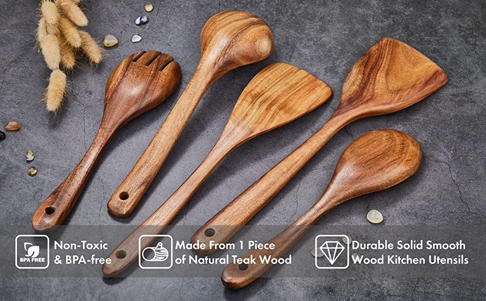 teak wood utensils spoons