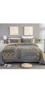 Grey flower dot summer comforter bedspread quilt set