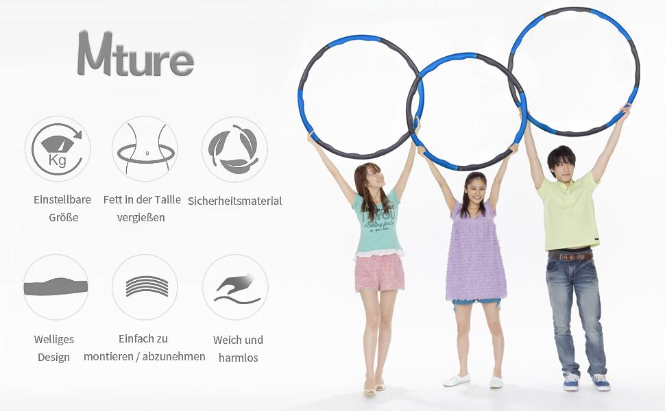 DUTISON Hula Hoop zur Gewichtsreduktion,Reifen mit Schaumstoff Gewichten Einstellbar Breit 48 88 cm beschwerter Hula-Hoop-Reifen f/ür Fitness mit Springseil