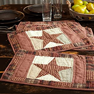 Abilene Star Quilted Placemat primitive country rustic Americana VHC Brands kitchen tabletop star