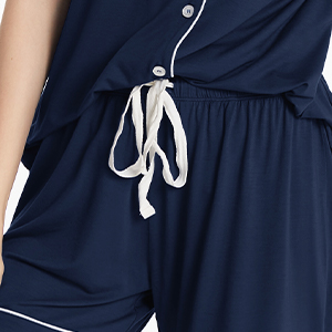 SIORO Pajamas Set Short Sleeve Sleepwear Womens Button Down Nightwear Soft Pj Lounge Sets