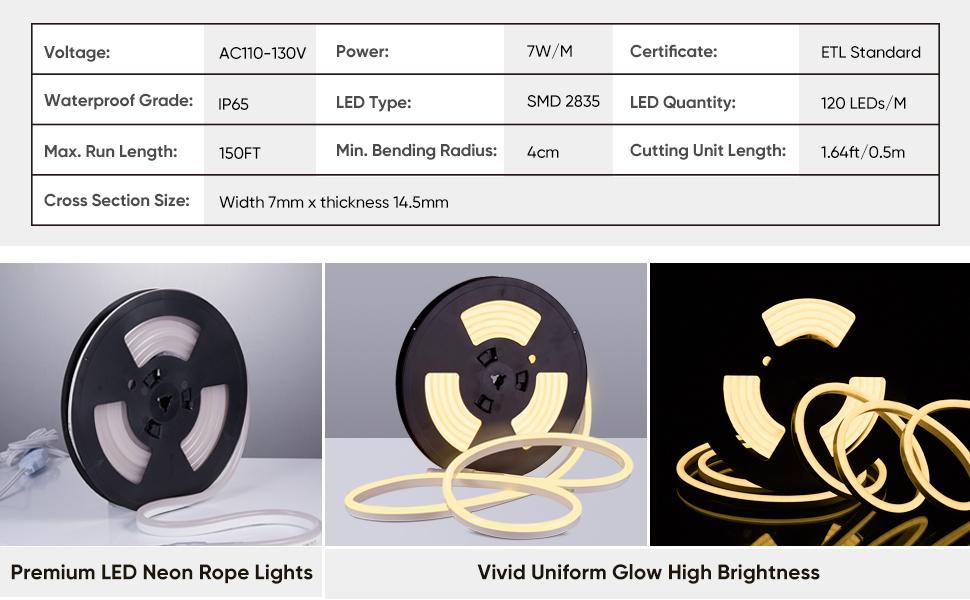 Shine Decor 3000K Neon Rope Light Warm White LED Neon Strip