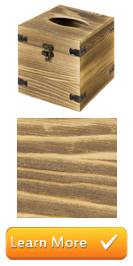 Burnt Brown Wood Square Facial Tissue Box Holder Cover with Hinged Lid