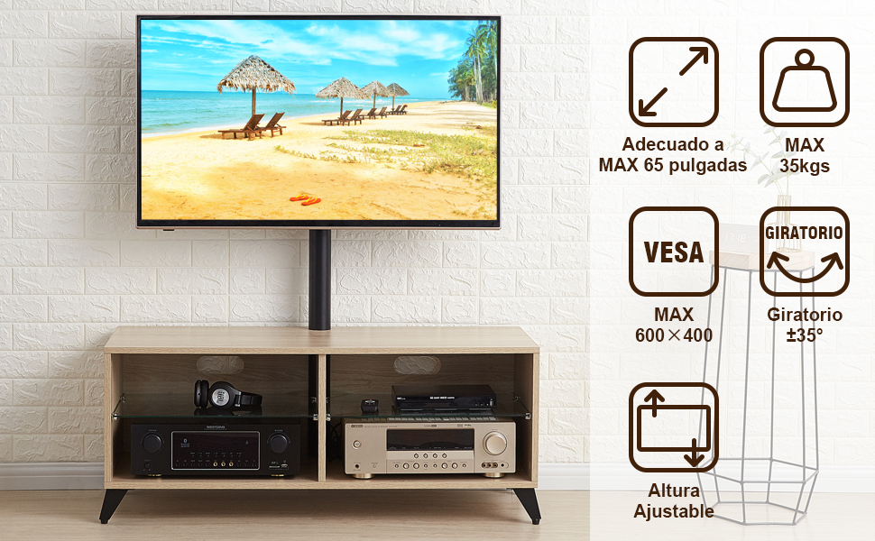 RFIVER Soporte TV de Suelo para Televisiones de 32 a 65 Pulgadas ...