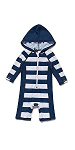 Sun Protection One Piece Swimsuit with Zipper//Hooded BONVERANO Baby/&Toddler Sunsuit UPF 50