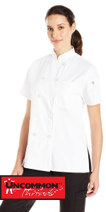 womens chef coat jacket gift for her cooking home restaurant simple fitted large small petite collar