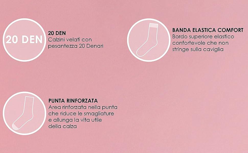 calzini con banda elastica, calzini 20 denari, calzini donna punta rinforzata, calzini fashion donna