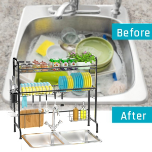 Comparison of the sink before and after use
