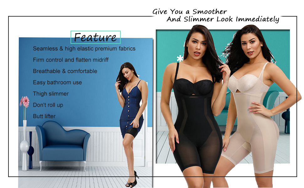 CINDYLOVER Womens Seamless Tummy Control Shapewear Underbust Bodysuit