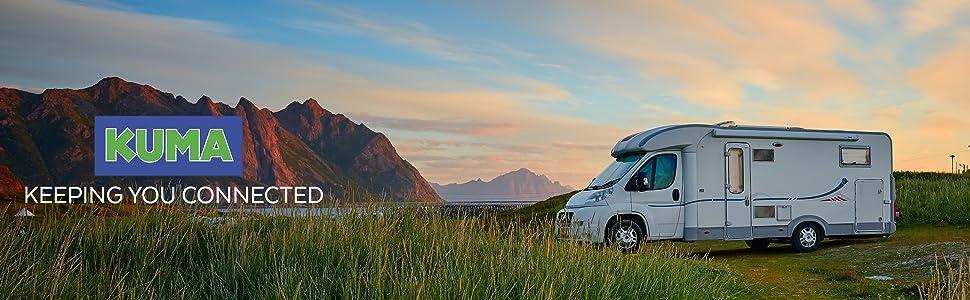 KUMA Cosmos TV Antena Amplificador Kit - Exterior TDT HDTV Antenna Omnidireccional para Auto Caravana Autocaravana Camioneta Barco - 12v Portátil ...
