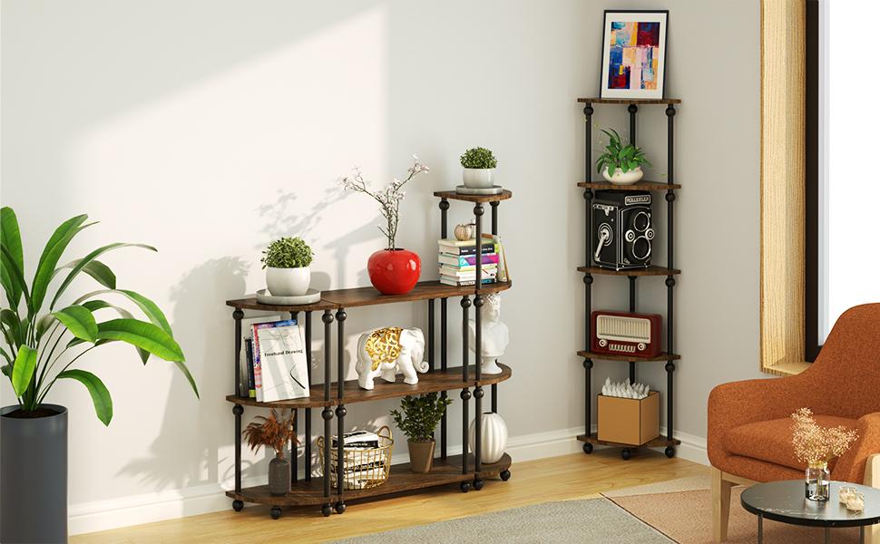 Vintage Corner Table Shelf 3-Tier Corner Bookcase Plant Stand Storage Rack