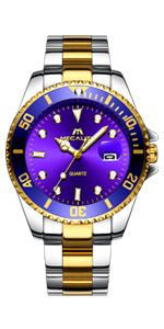 Reloj Hombre Elegante Oro Azul