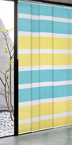 stripe window covering yellow and blue