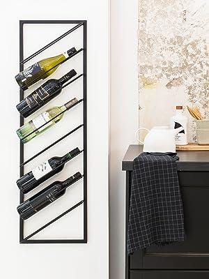Wijnhouder muur metaal zwart wijnstandaard wijnflessenhouder wijnrek moderne wandwijnrek 10 kg