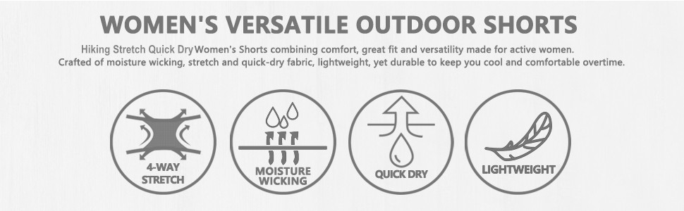 Lightweight Womens Hiking Shorts Quick Dry Active Sports Cargo Shorts for Women