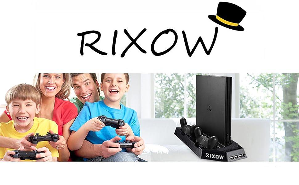 Rixow Refrigeración para PS4 con Dos Ventiladores de Playstation 4 Consola con Puertos Libres Cargador Doble Estación de Carga para Dual Shock - Negro: Amazon.es: Videojuegos