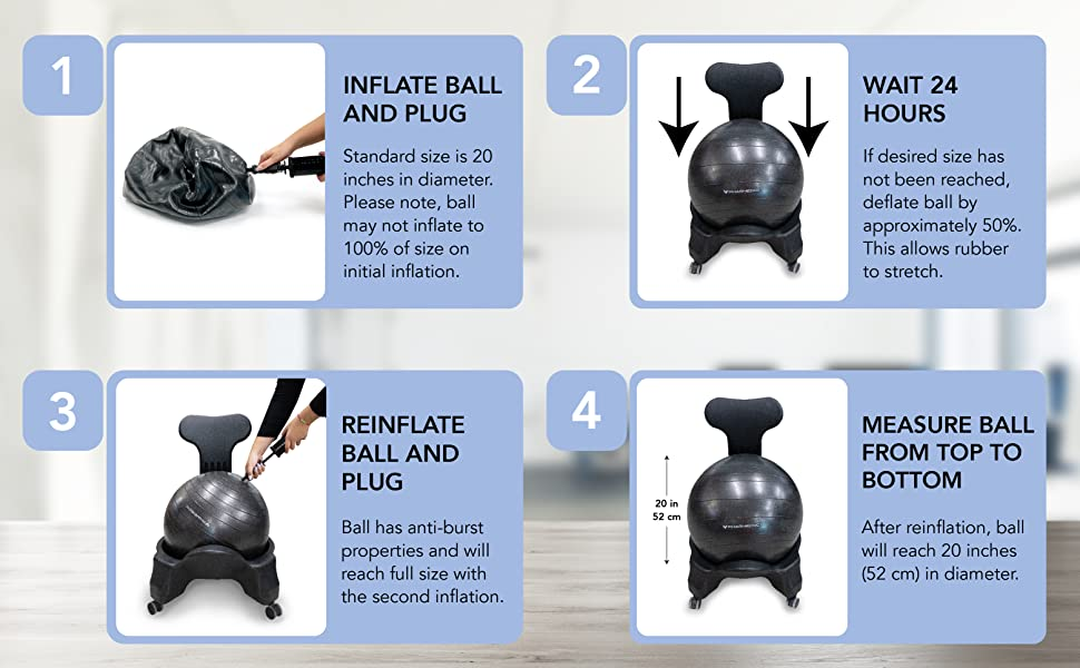 Remarkable Pharmedoc Balance Ball Chair With Back Support For Home And Office W Exercise Ball Pump Removable Back Lockable Wheels Squirreltailoven Fun Painted Chair Ideas Images Squirreltailovenorg