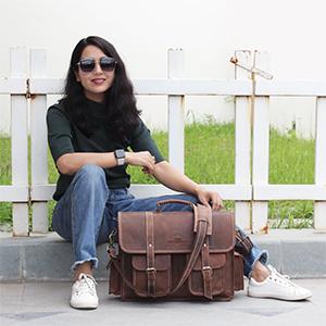 Handmade World 16 Inch Buffalo Leather Briefcase Laptop Messenger Bag cross body satchel shoulder