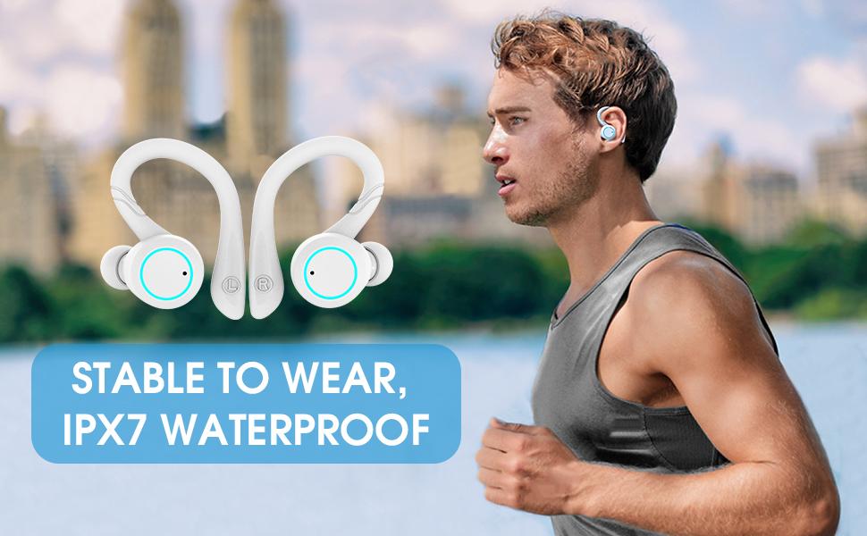 Waterproof sport earphones sucure to wear