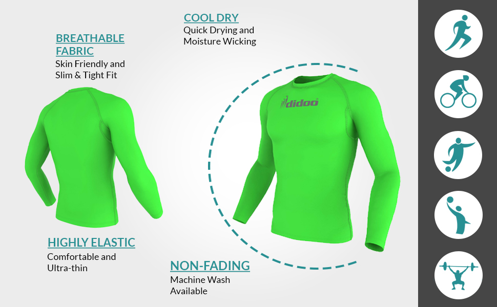 Didoo Men/'s Compression Base Layer Tight Fit Long Sleeve Cycling T-Shirts Jersey
