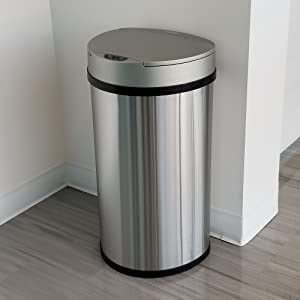 touchless sensor automatic garbage trash can bin recycle stainless steel home office kitchen