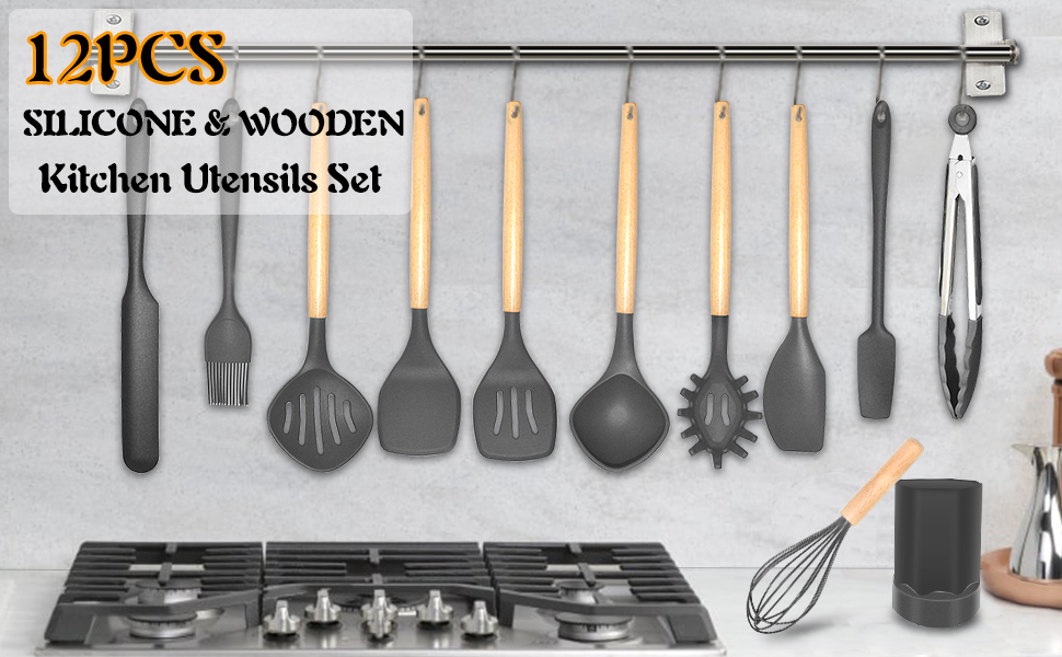 12 Pieces Silicone Wooden Kitchen Utensil Set with Holder,A Basic Complete Set of Cooking Utensils