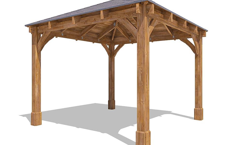 Carpa de madera Altlas, de 3,2 m de ancho x 3,2 m de profundidad, permanente, para jardín, de Dunster House