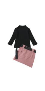Black Top Belt Skirt Set