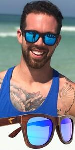Pelican Sunwear wooden sunglasses blue polarized du dumu wood men women
