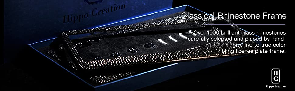 Perfect Car Accessories for All Standard Plate Size 2 Pack HC Prong Setting Luxury Handcrafted Bling License Plate Frame with GiftBox Over 1000 pcs Finest 14 Facets Clear White Rhinestone Crystals