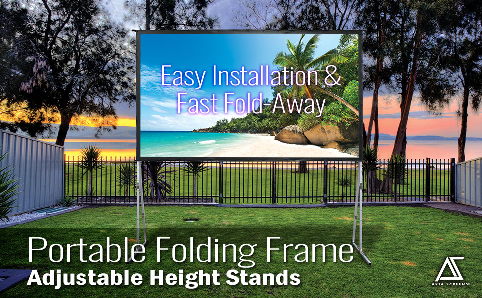 Akia Screens Portable Folding Frame fast easy adjustable height stands projector screens