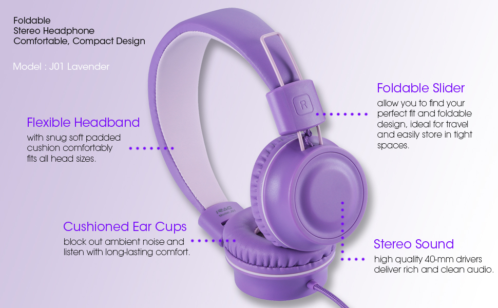 iRAG J01 kids headphones Lavender