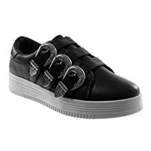 sneakers con fibbia nera