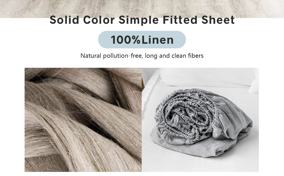 100% Linen Solid Color Simple Fitted Sheet