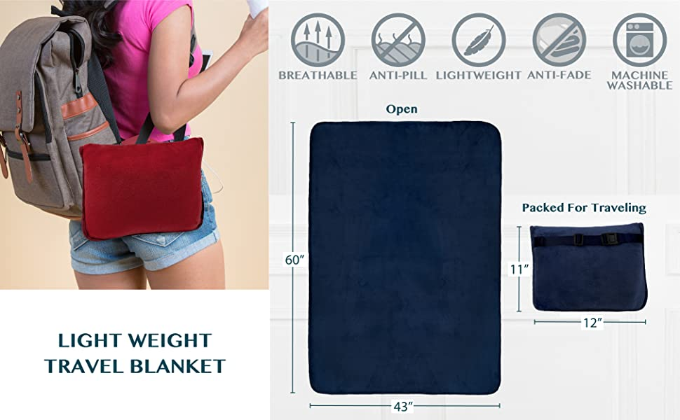 portable blanket for travel attaches to luggage backpacks