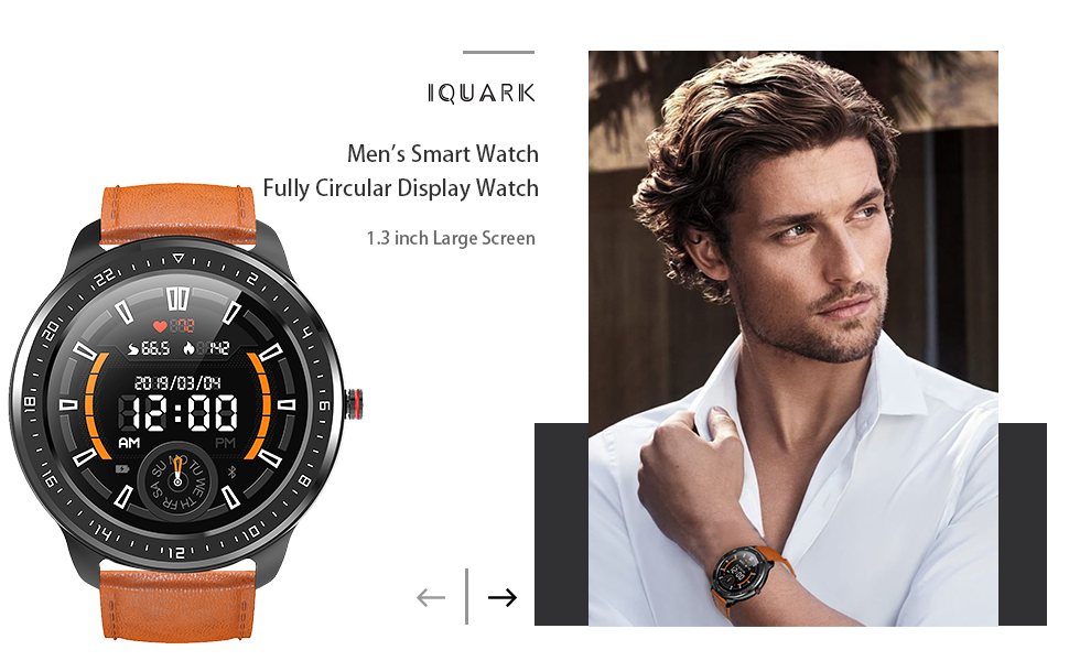 IQURAK smart watch for 1.3 inch full touch screen