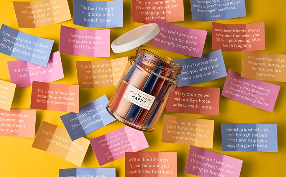 Amazon Com The Little Calm And Happy Company Happy Friendship Quotes Jar 30 Notes Fun Inspirational Motivational Messages Cute Colorful Paper Slip Notes Incl Gift Box Office Products