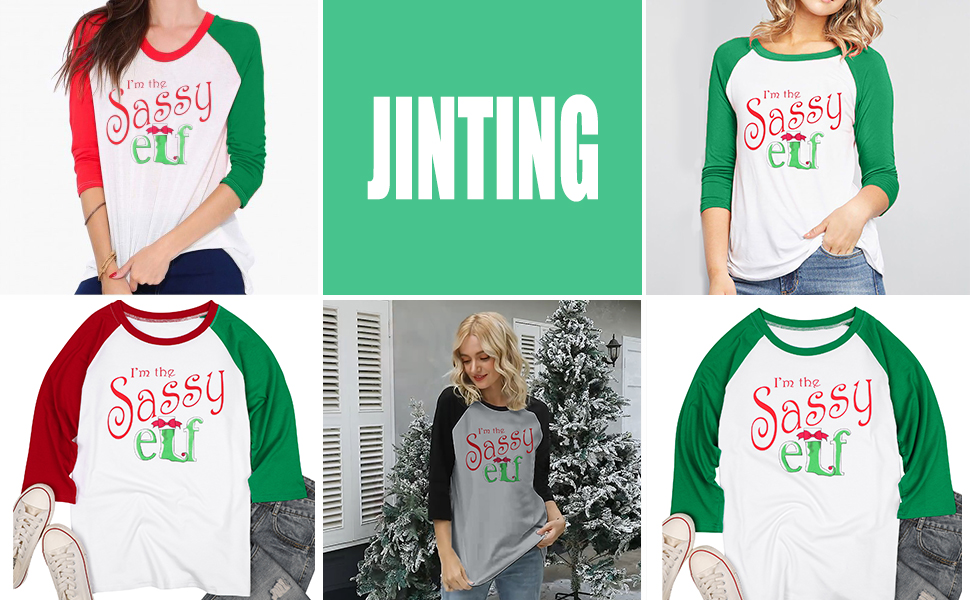 Women Raglan Christmas Baseball Shirts Letter Print 3/4 Sleeve Graphic Tee Shirts