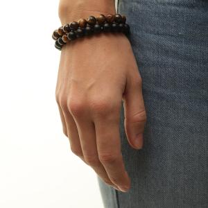bracelet femme, homme, perle naturelle, pierre, zen, onyx œil de tigre, pierre de lave  couple