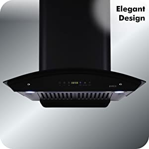 Elica 60 cm 1200 m3/hr Auto Clean Chimney with Installation Kit  Baffle Filters, Touch Control