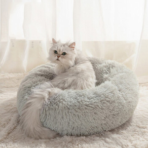 soft warm cat bed light greay