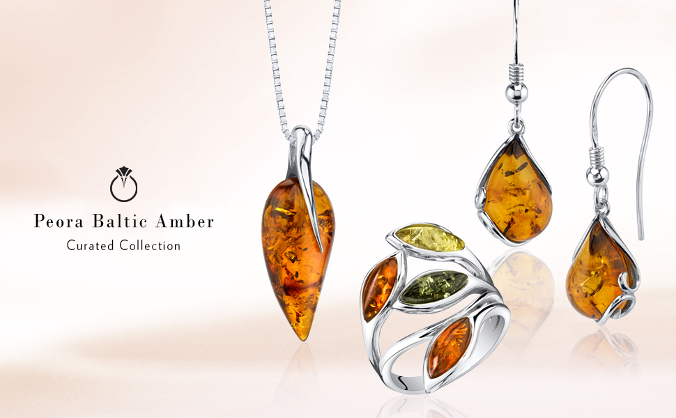 baltic amber necklace pendant earrings ring bracelet genuine natural stones sterling silver