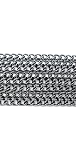 several layers of silver necklace chains