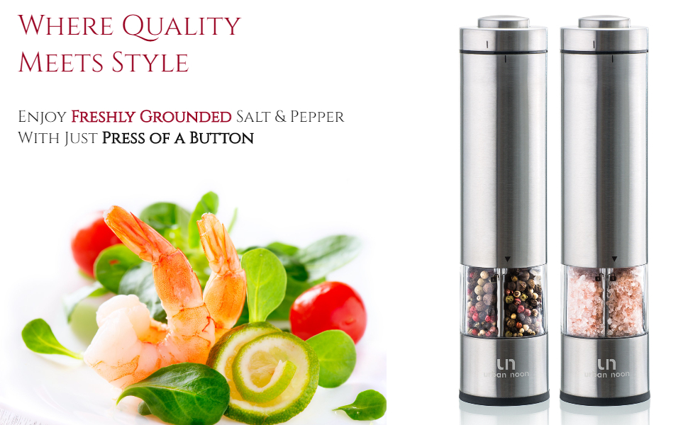 for Different Herbs /& Spices Salt Grinder and Pepper Mill with Light Easy to Use SA PRODUCTS Electric LED Salt /& Pepper Grinders Ceramic Mechanism Battery Operated Practical and Versatile