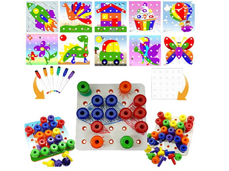 Skoolzy Color Sorting Peg Board Pattern Cards Creative Kit for Pegboard Stacking Toys - Educational