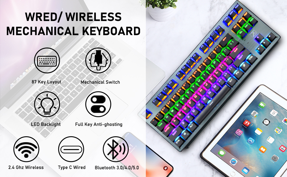 wired wireless 87 key mechanical keyboard