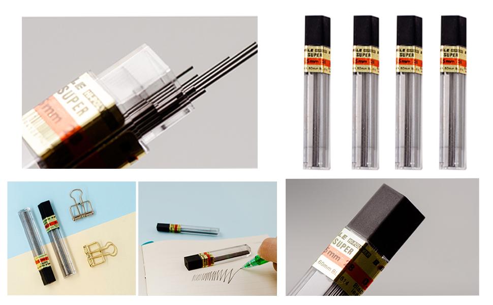 Mechanical Pencils refills 5 colors erazers