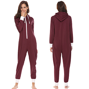 Ekouaer Women's Hooded One Piece Pajama Union Jumpsuit