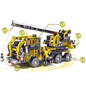 BIRANCO. Crane Truck Building Kit (465 Pieces)